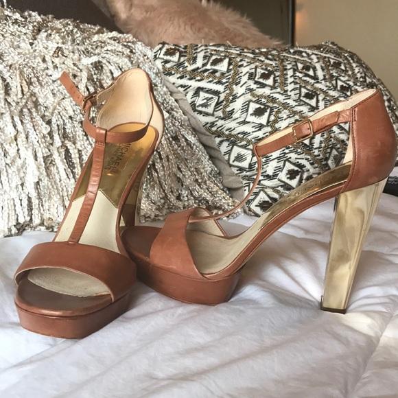 bce21fc3e1c Michael Kors metallic gold heel